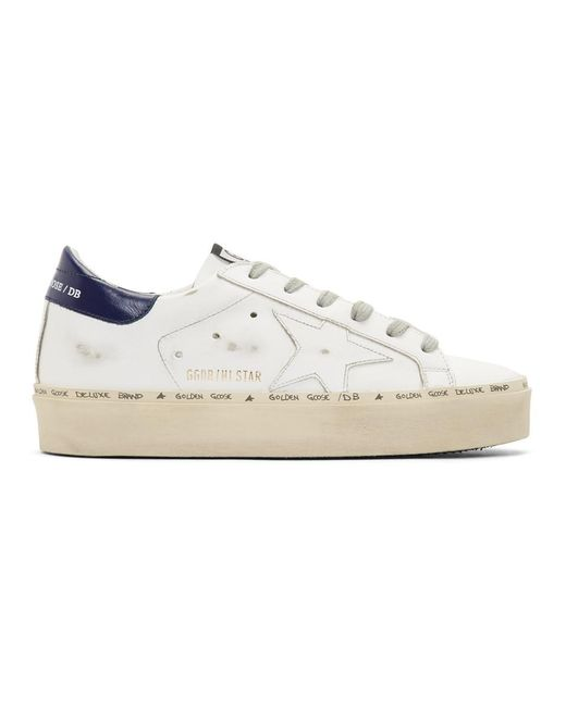 Golden Goose Deluxe Brand - White And Bue Hi Star Platform Sneakers - Lyst