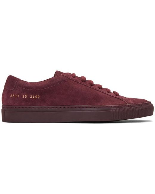 Common Projects | Red Original Achilles Suede Low-Top Sneakers | Lyst