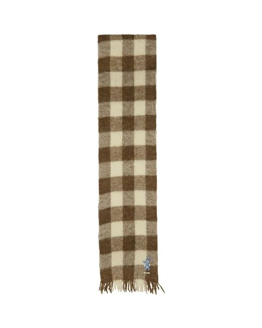 Gucci - Natural Foulard en laine a carreaux brun et blanc Long for Men - Lyst