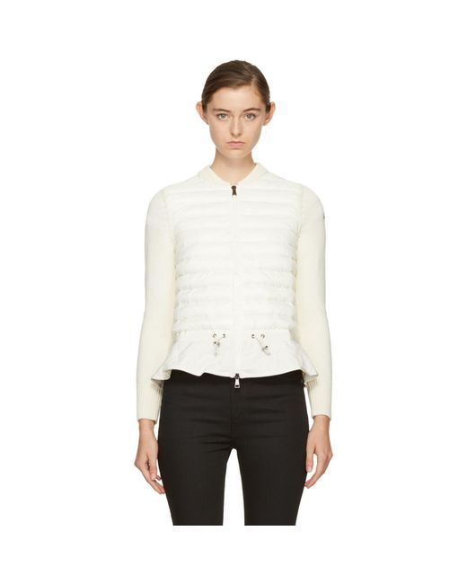 Moncler | Off-white Down Knit Peplum Jacket | Lyst