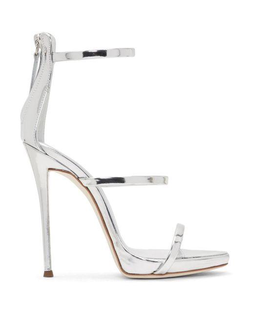 Giuseppe Zanotti - Metallic Silver Coline Three-strap Sandals - Lyst