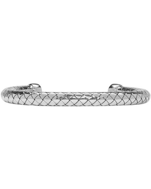 Bottega Veneta | Metallic Silver Intrecciato Bracelet | Lyst