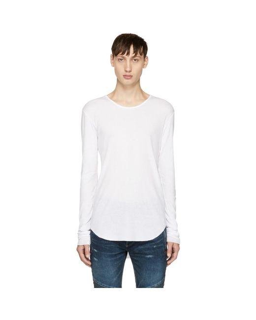 Balmain - White Long Sleeve Ribbed T-shirt for Men - Lyst