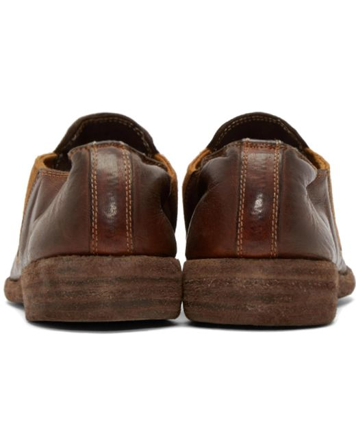 ... Guidi | Brown Leather Distressed Loafers for Men | Lyst ...