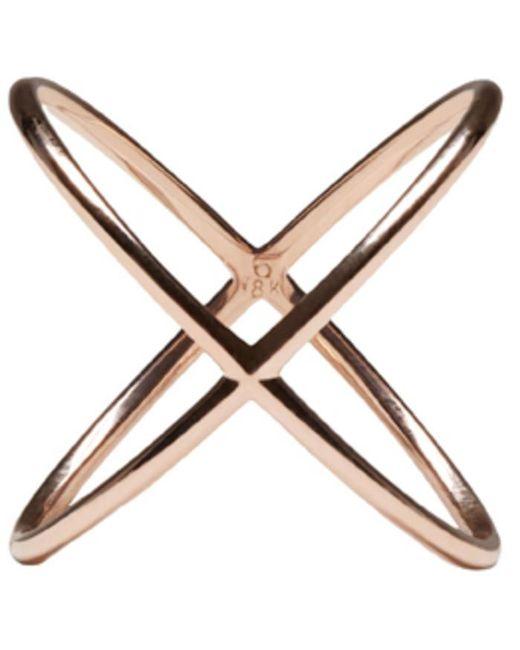 Eva Fehren | Pink Rose Gold X Ring | Lyst