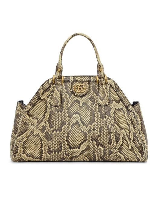 Gucci - Natural Beige Snake Small Top Handle Bag - Lyst