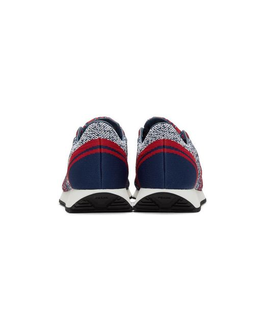 a963eaba6741 Prada Red And Navy Knit Sport Sneakers in Blue for Men - Save 20% - Lyst