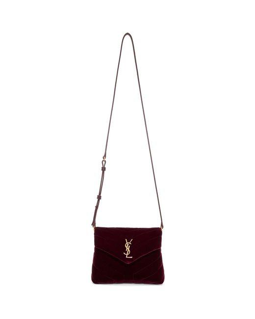Women's Burgundy Velvet Toy Loulou Shoulder Bag by Saint Laurent