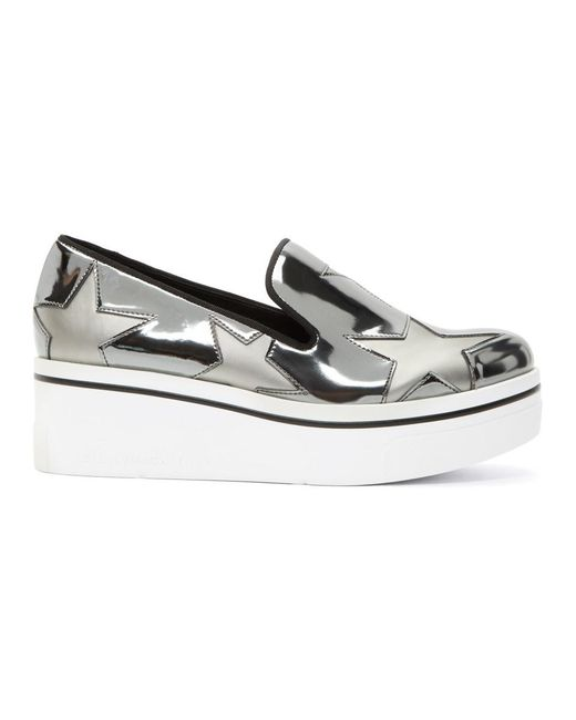Stella McCartney - Metallic Silver Binx Stars Slip-on Sneakers - Lyst