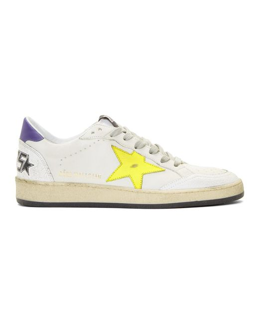 829db1d5d49c3 Golden Goose Deluxe Brand - White And Yellow Ball Star Sneakers for Men -  Lyst ...