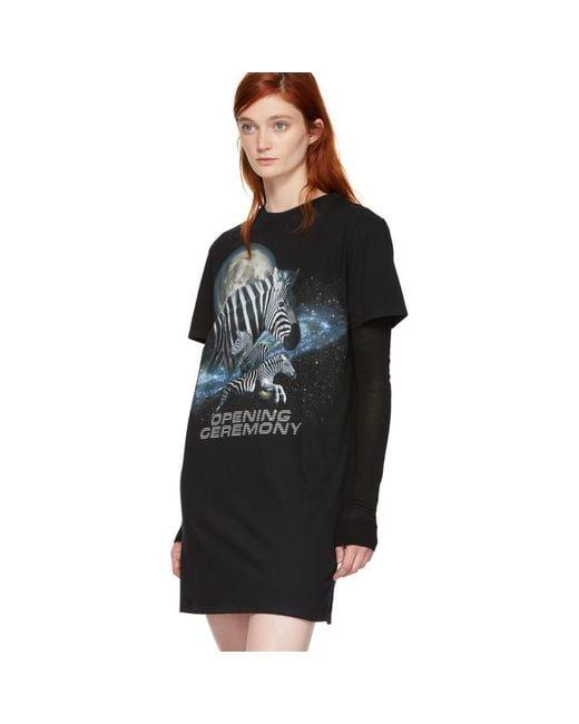 Black Cosmic Zebra T-Shirt Dress Opening Ceremony 3C7PxZv9G