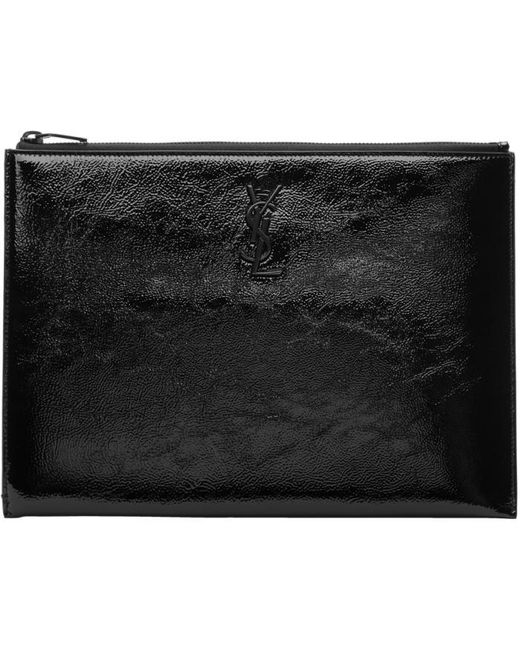 Saint Laurent   Black Patent Monogram Zipped Tablet Holder   Lyst