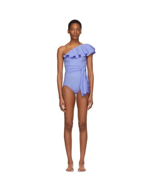 Lisa Marie Fernandez - Blue Arden Flounce Swimsuit - Lyst