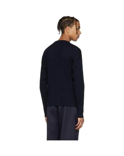 Ami Navy Ribbed Sweater in Blue for Men | Lyst