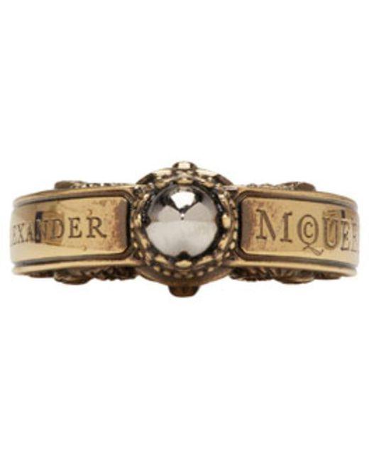 Alexander McQueen | Metallic Gold Skull Engraved Ring for Men | Lyst