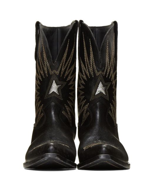 8272d1ee81a5 ... Golden Goose Deluxe Brand - Black Wish Star Leather Cowboy Boots - Lyst  ...