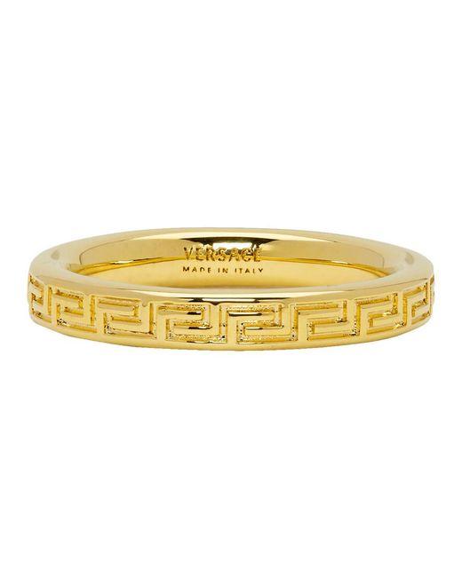 Men's Metallic Gold Greek Key Ring by Versace