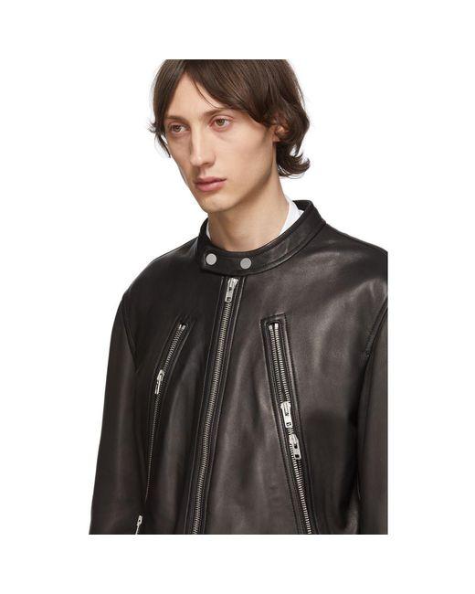 fe64358d3 Maison Margiela Black Leather 5-zip Sports Jacket in Black for Men ...