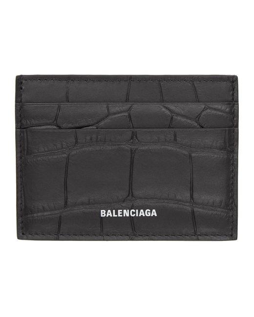 Balenciaga Black Crocodile Effect Leather Card Holder for men