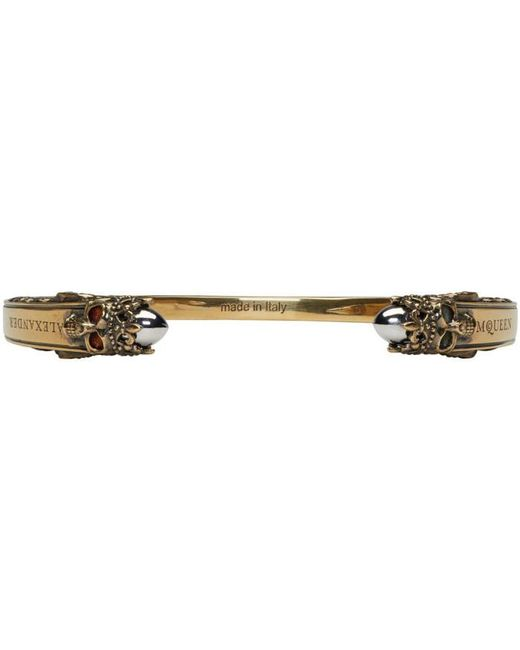 Alexander McQueen | Metallic Gold Twin Skull Engraved Bracelet for Men | Lyst