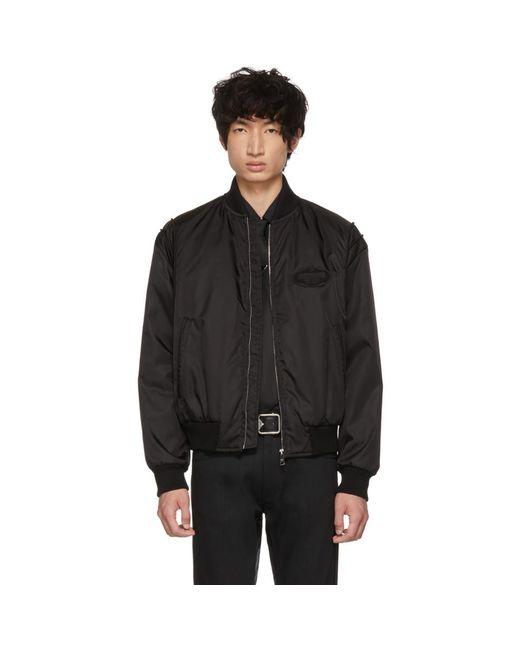 Prada - Black Gabardine Bomber Jacket for Men - Lyst
