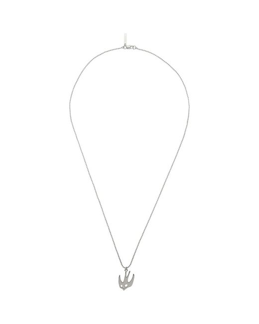 McQ Alexander McQueen - Metallic Silver Ball Chain Swallow Necklace - Lyst