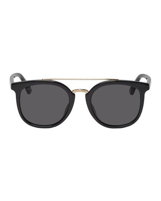 fb8232285b Gucci Black Round Combination Sunglasses in Black for Men - Lyst