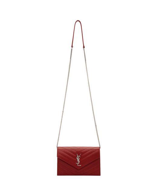 Saint Laurent - Red Envelope Chain Wallet Shoulder Bag - Lyst