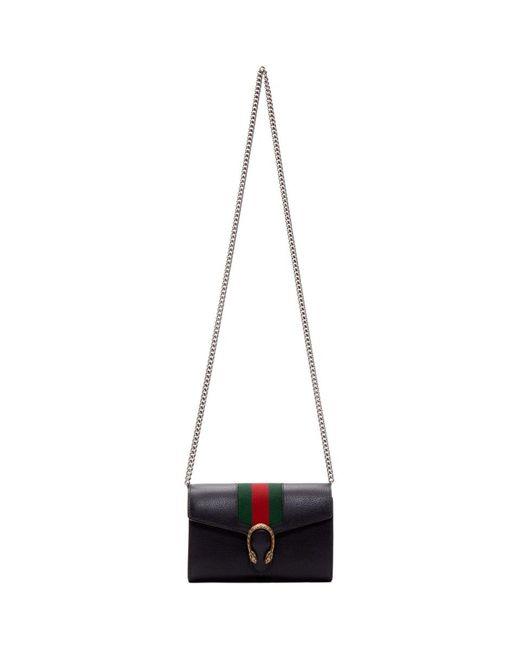 64c8fca0832 Lyst - Gucci Black Web Dionysus Chain Wallet Bag in Black