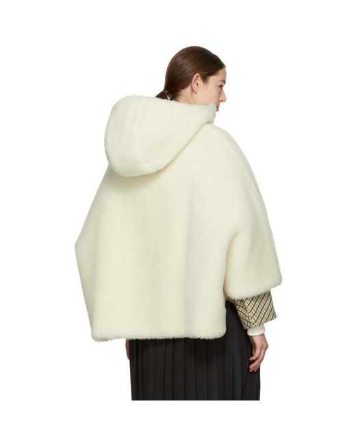 Mackintosh Ivory Shearling Cape Coat in White | Lyst