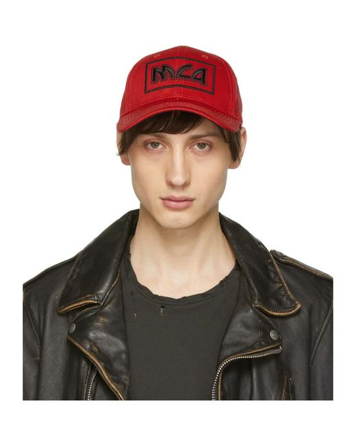 McQ Alexander McQueen - Red Embroidered Metal Logo Cap for Men - Lyst