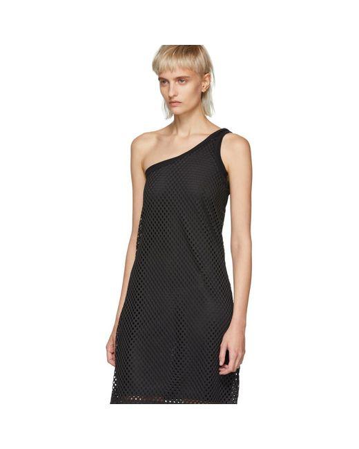 Black Mesh One-Shoulder Dress Opening Ceremony IT0zc