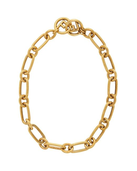 Fendi - Metallic Gold F Is Chain Necklace - Lyst