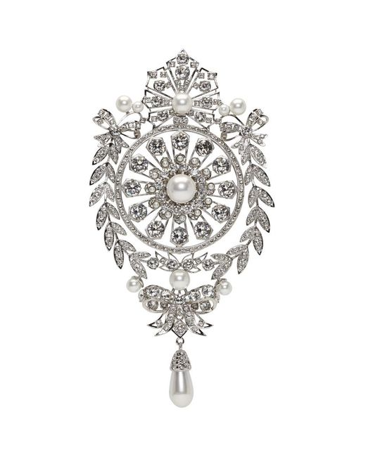 Givenchy - Metallic Silver And Pearl Classic Strass Brooch - Lyst