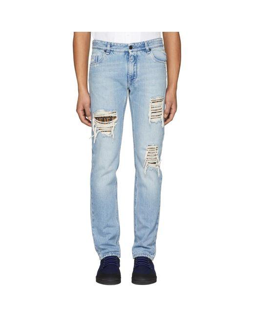 Fendi - Blue Slim Ff Logo Jeans for Men - Lyst