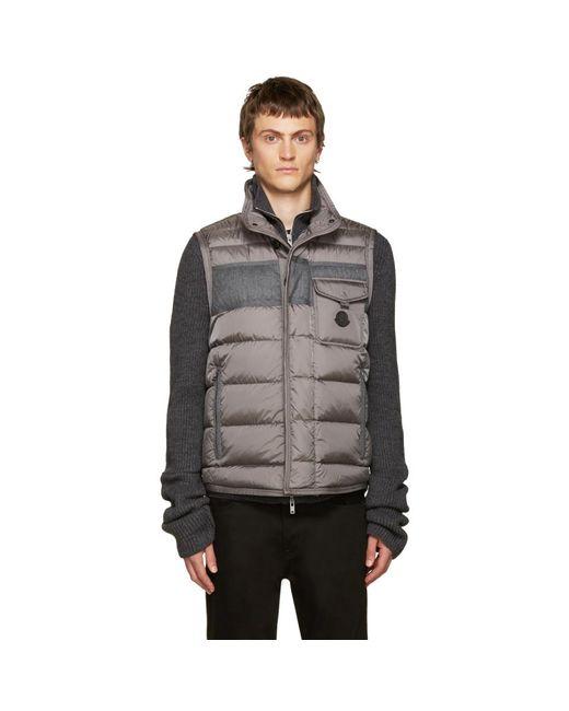 Moncler - Gray Grey Down Athos Vest for Men - Lyst