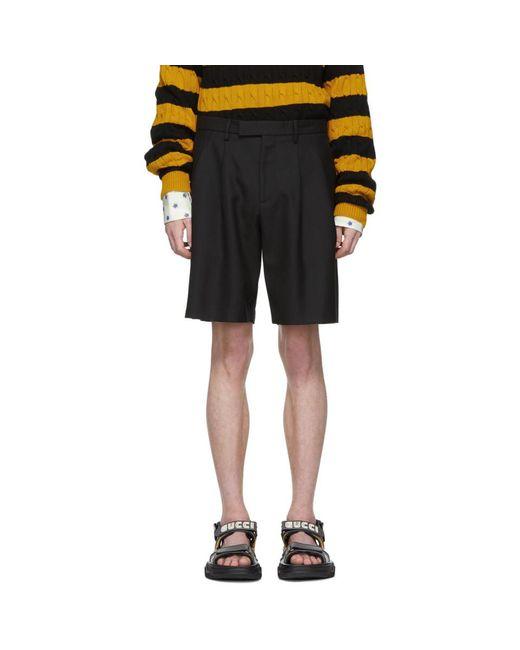 Gucci - Black Short a chevrons noir for Men - Lyst