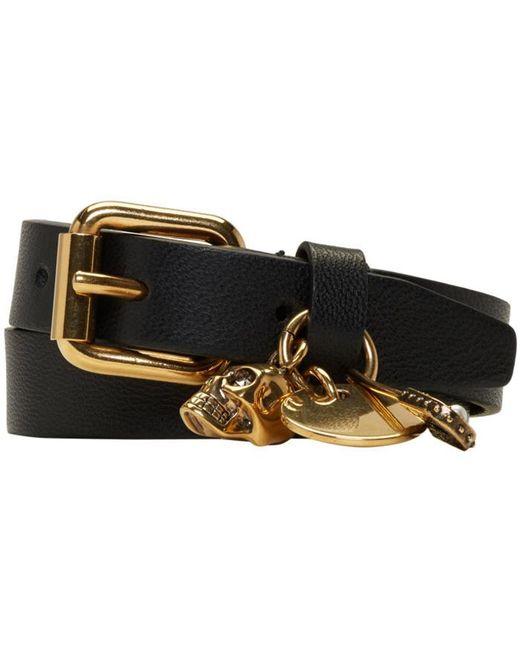 Alexander McQueen | Black & Gold Safety Pin Double Wrap Bracelet | Lyst