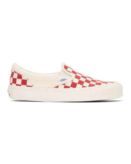 aa88d595ad09 Vans - Multicolor Red And White Og Checkerboard Classic Slip-on Sneakers  for Men ...
