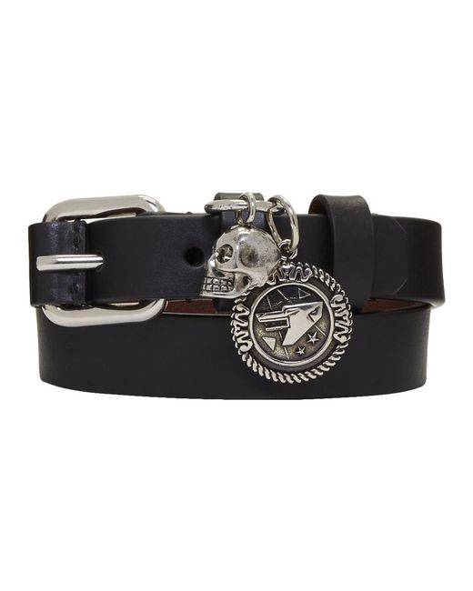 Alexander McQueen - Black And Silver Skull Wide Double Wrap Bracelet for Men - Lyst