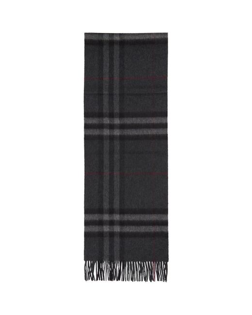 Burberry - Gray Grey Cashmere Giant Check Scarf for Men - Lyst