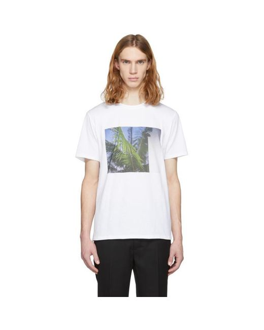 A p c white palm tree t shirt in white for men lyst for Apc white t shirt