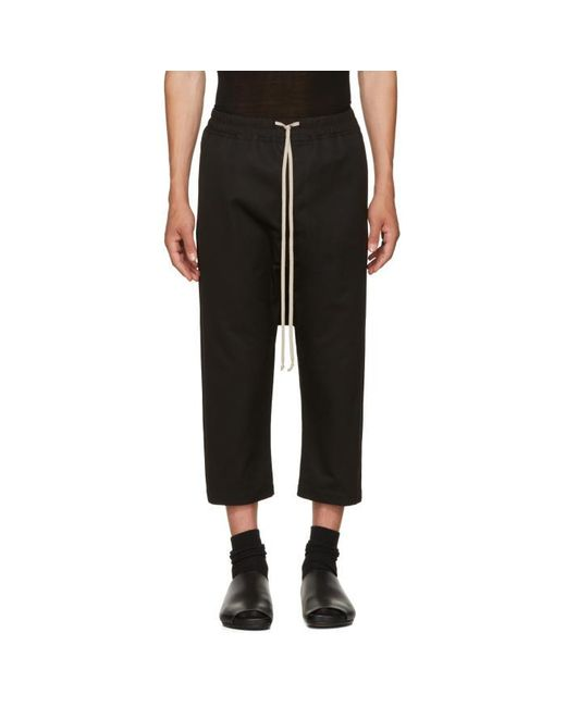 Rick Owens | Black Cropped Drawstring Trousers for Men | Lyst