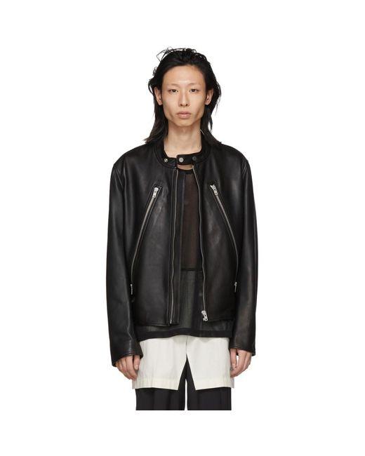 d89b5ed4b Men's Black Leather Classic Five-zip Jacket
