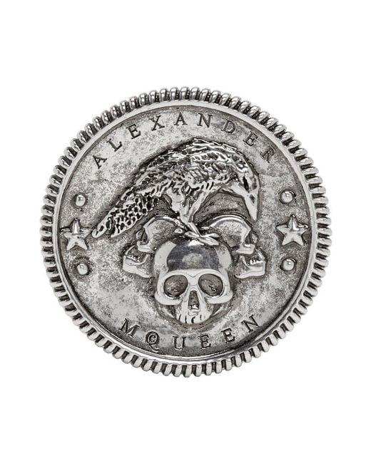 Alexander McQueen - Metallic Silver Crow Medallion Ring for Men - Lyst