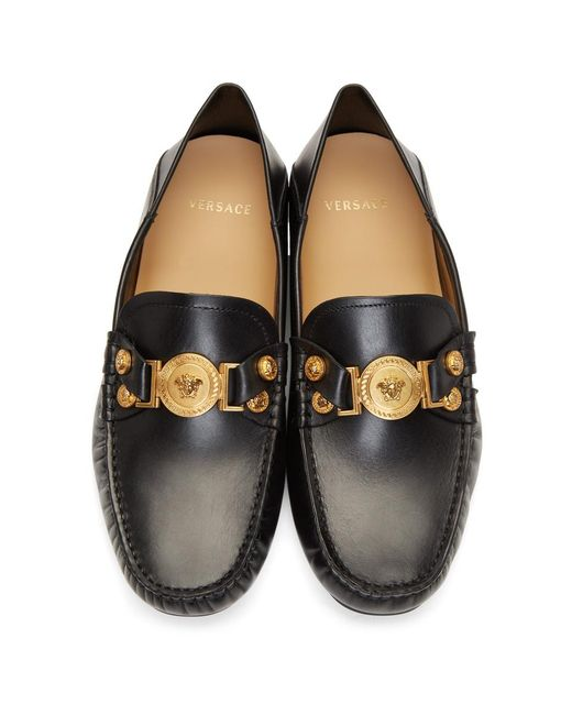 05e1d4f5a7f Lyst - Versace Black Tribute Driver Loafers in Black for Men