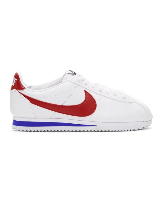 buy popular a352b e3387 Nike - Red White Leather Classic Cortez Sneakers - Lyst ...