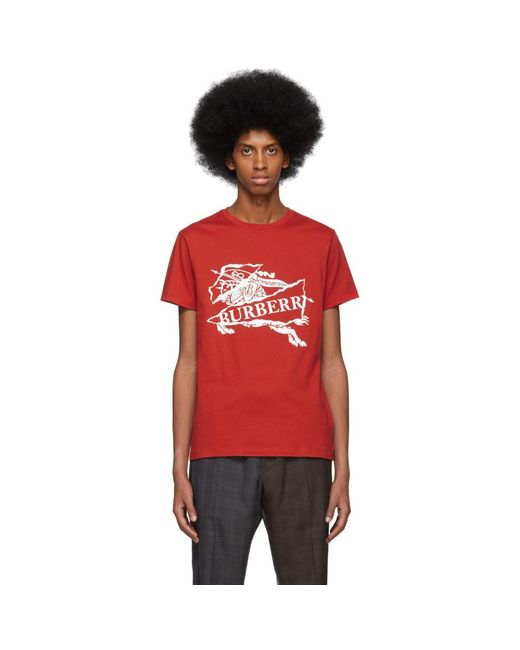 Burberry - Red T-shirt rouge Cruise for Men - Lyst