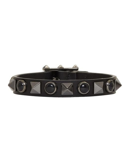Valentino - Black Leather Rolling Rockstud Bracelet for Men - Lyst