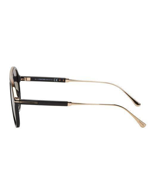 762f21b235b ... Tom Ford - Black And Gold Nicholai-02 Sunglasses for Men - Lyst ...